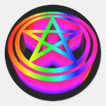 pentáculo tridimensional del arco iris etiquetas redondas
