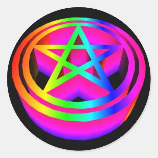 pentáculo tridimensional del arco iris pegatina redonda