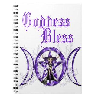 Pentáculo triple púrpura de la diosa de la luna de cuaderno