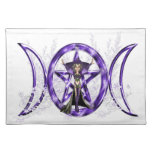 Pentáculo triple púrpura de la diosa de la luna de manteles individuales