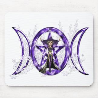 Pentáculo triple púrpura de la diosa de la luna de tapete de raton