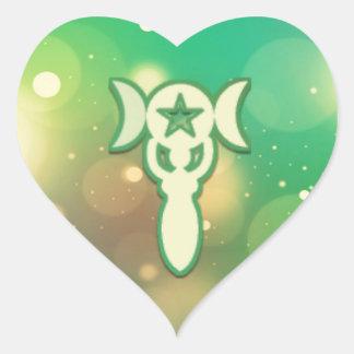 Pentáculo verde complejo calcomania corazon