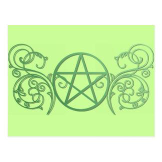 Pentáculo verde con flourishes tarjeta postal