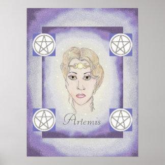 Pentáculos de la diosa de la luna de Artemis Póster