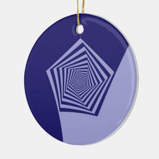 Pentagon Spiral Blues  Ornament