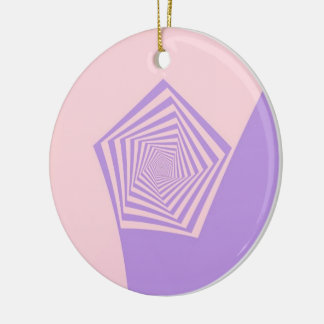 Pentagon Spiral in Pale Pink and Lavender Ornament