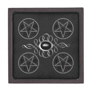 Pentagons & Black & Silver Gem Gothic planetjillgiftbox