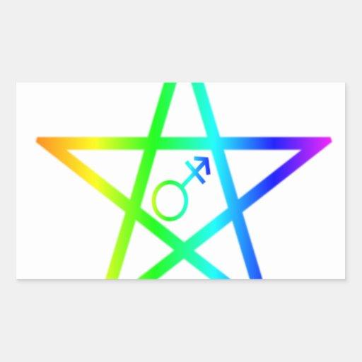 Pentagram 2 del arco iris del transexual rectangular altavoces