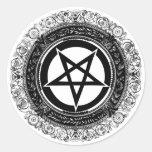 Pentagram adornado etiqueta redonda