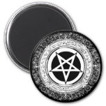 Pentagram adornado imán redondo 5 cm