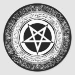 Pentagram adornado pegatina redonda