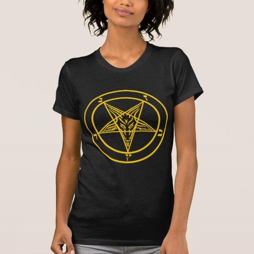 Pentagram amarillo de Baphomet Camiseta