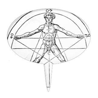 Pentagram_and_human_body_(Agrippa) Cake Topper