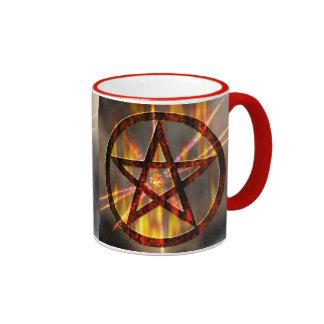 Pentagram ardiente tazas