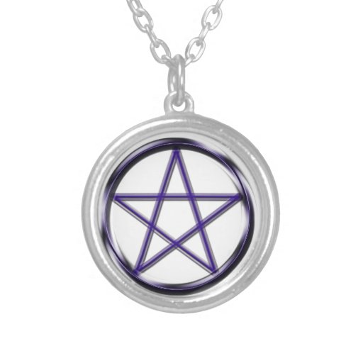 Pentagram azul colgante redondo