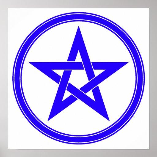 Pentagram azul del pentáculo póster
