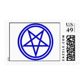 Pentagram azul invertido en un círculo doble envio