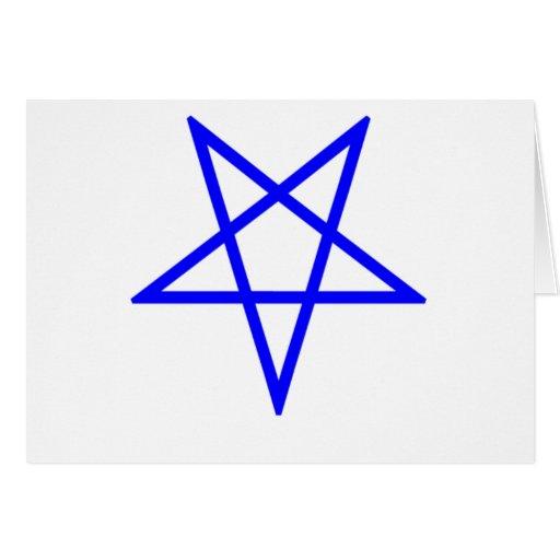 Pentagram azul invertido felicitacion