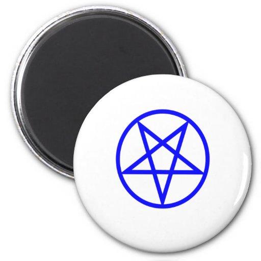 Pentagram azul invertido imán redondo 5 cm