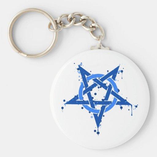 Pentagram azul llavero personalizado