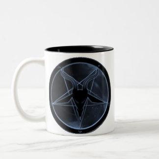 Pentagram azul taza de café de dos colores