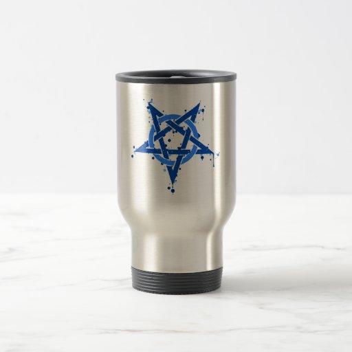 Pentagram azul taza de viaje de acero inoxidable