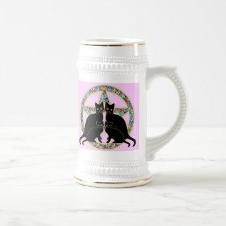 Pentagram Black Cats Ostara Easter Mug