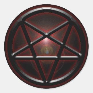 Pentagram Black/Red Shine Round Stickers