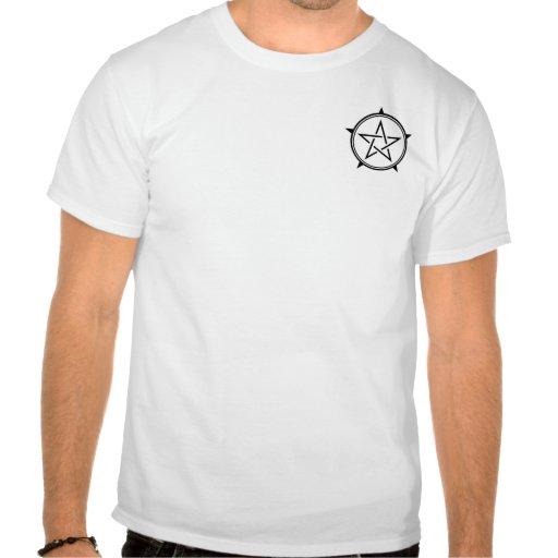 Pentagram blanco y negro del corte del doble camiseta