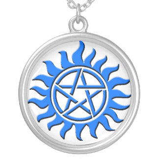 pentagram blue necklace