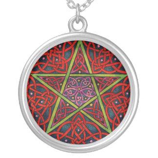 Pentagram céltico colgante redondo