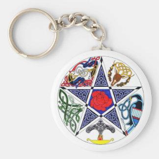 Pentagram céltico llavero redondo tipo pin