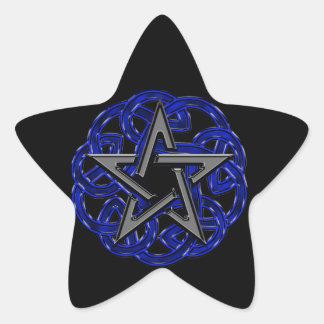 Pentagram céltico negro y azul pegatina en forma de estrella