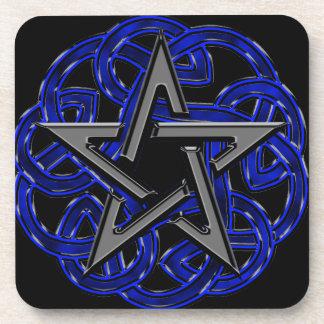 Pentagram céltico negro y azul posavasos