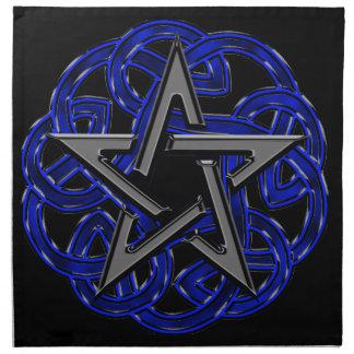 Pentagram céltico negro y azul servilletas