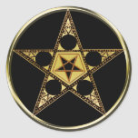 Pentagram con la estrella al revés etiqueta
