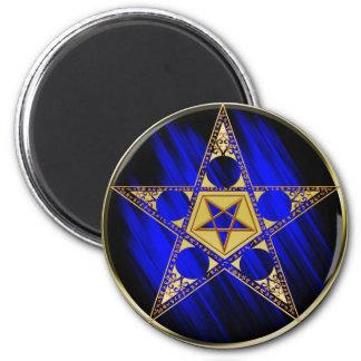 Pentagram con la estrella al revés imán redondo 5 cm