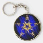 Pentagram con la estrella al revés llaveros personalizados