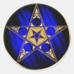 Pentagram con la estrella al revés etiqueta redonda