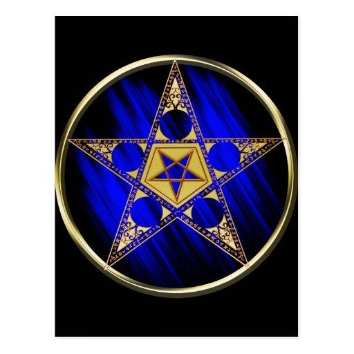 Pentagram con la estrella al revés tarjeta postal