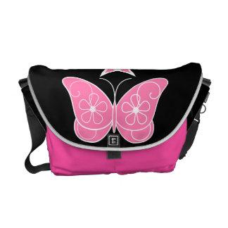Pentagram con rosa de la mariposa bolsas de mensajeria
