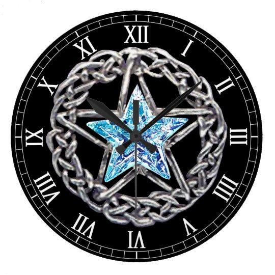 Pentagram Crystal Star Round Roman Numerals Clock