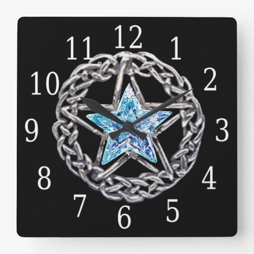 Pentagram Crystal Star Square Clock