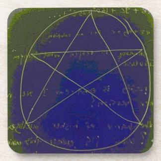 pentagram dark magic circle ritual coaster