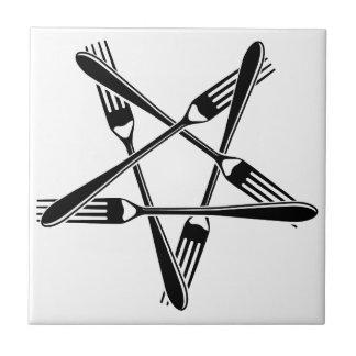 Pentagram de la bifurcación (negro) azulejo