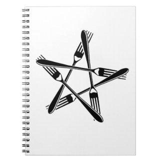 Pentagram de la bifurcación negro libros de apuntes con espiral