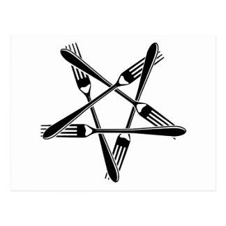 Pentagram de la bifurcación (negro) tarjeta postal