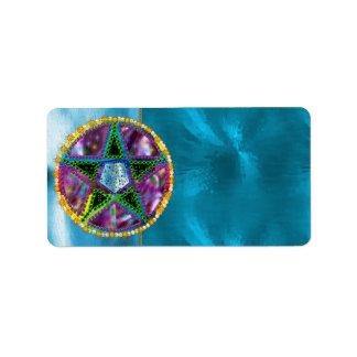 Pentagram de la bruja etiquetas de dirección