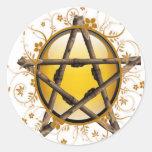 Pentagram de la flor pegatina redonda
