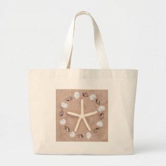 Pentagram de las estrellas de mar y de las cáscara bolsas de mano